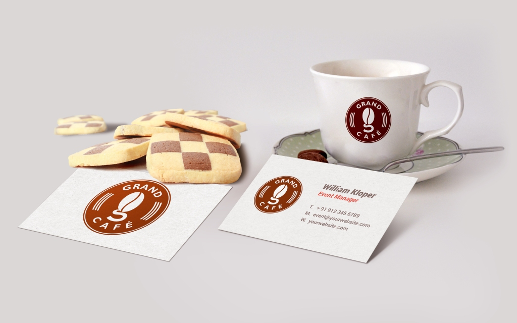 Business Card Coffee Cup Scene